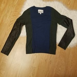 NWT AIKO Green Blue Color Block Black Leather Sm